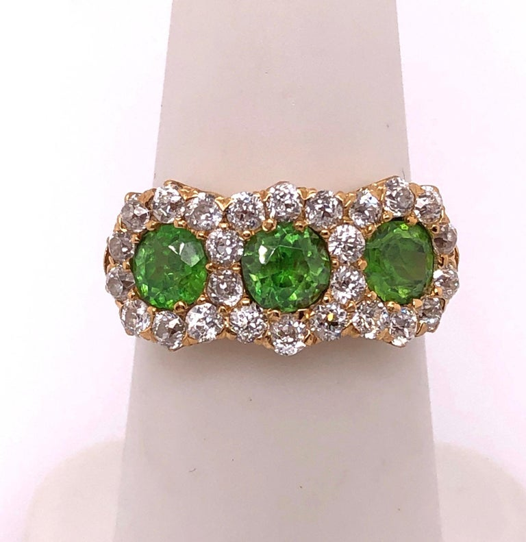 Three-Stone Emerald and Diamond Modern Ring For Sale 2