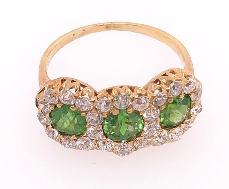 Three-Stone Emerald and Diamond Modern Ring For Sale 4