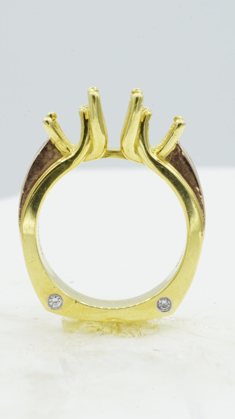 Three Stone Engagement Ring Tri-Color Platinum, 18tk Yellow Gold and 18kt Rose Gold  Round Diamond. Brand new semi-mounting engagement ring by Rock N Gold Creations. The semi-mount ring is comprised of platinum, 18kt yellow gold, 18kt rose gold,
