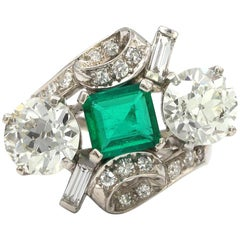 Three Stone Green Emerald and Diamonds Platinum Ring