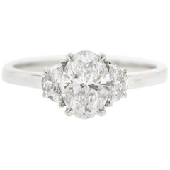 Three Stone Half Moon Oval Diamond Engagement Ring 'GIA Certified'