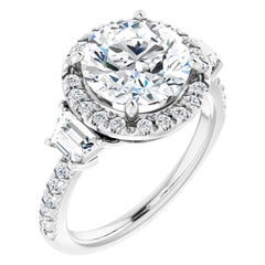 Three-Stone Halo Style French Pave Round Diamond GIA Certified Engagement Ring