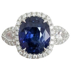 Three-Stone Large Sapphire/Diamond Platinum Ring