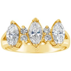 Roman Malakov Three-Stone Marquise Cut Diamond Engagement Ring