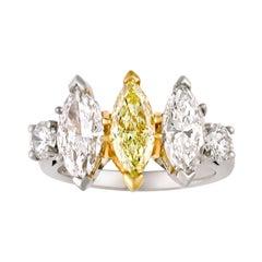 Three-Stone Marquise Diamond Ring, 3.60 Carats