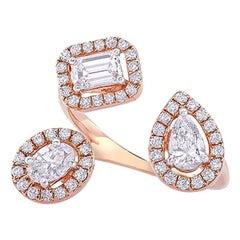 Three-Stone Multi Fancy Shape Diamond Ring 1.03 Carat in 14 KT Rose Gold