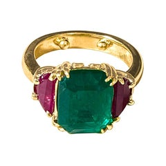 Three-Stone Natural 6 Ct Emerald and Ruby Engagement Ring in 14 Karat Gold