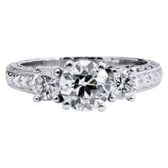 GIA Certified Three-Stone Old European Cut Diamond Engagement Ring