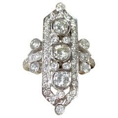 Three-Stone Old European Cut Diamond Ring in 14 Karat White Gold