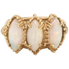 Three-Stone Opal Marquise Yellow Gold Ring