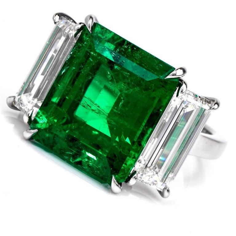 Emerald Cut Three-Stone Rectangular Emerald Diamond Platinum Ring For Sale