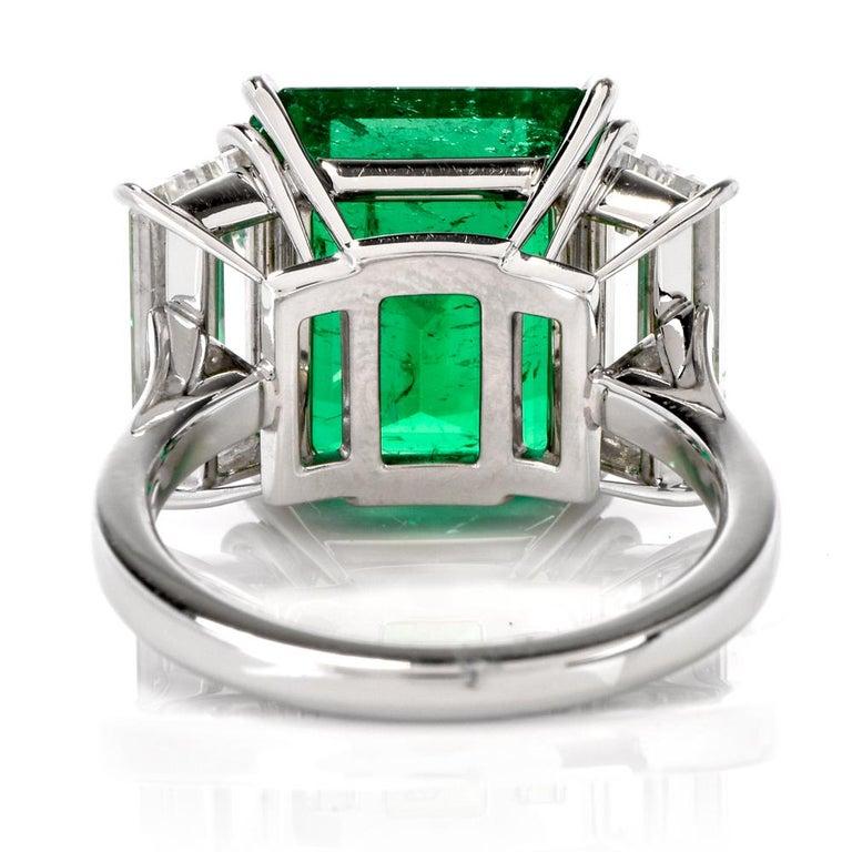 Three-Stone Rectangular Emerald Diamond Platinum Ring For Sale 3