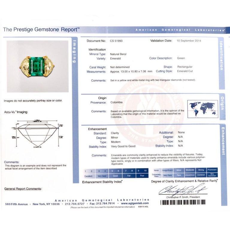 Three-Stone Rectangular Emerald Diamond Platinum Ring For Sale 2