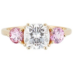 Three-Stone Ring, 14 Karat Gold Cushion Cut Moissanite and Pink Sapphire