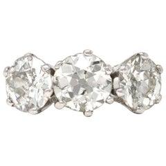 Three-Stone Ring with 6 Carat of Old Euro Cut Diamonds in 18 Karat White Gold