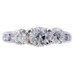 Three-Stone Round Diamond Ring 1.40 Carat Past Present Future 14 Karat Gold