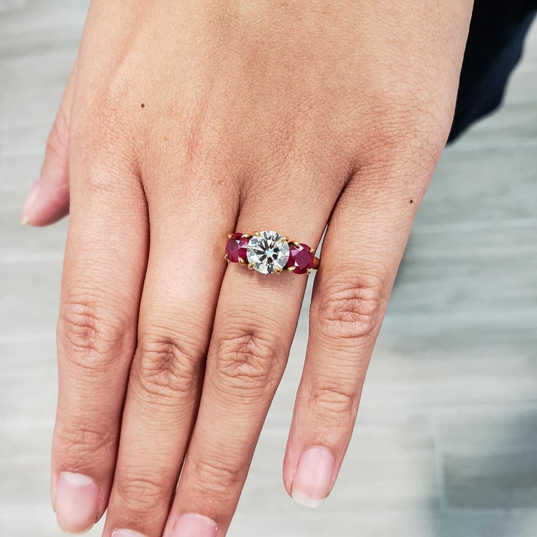 Modern Three-Stone Ruby and Diamond Engagement Ring For Sale