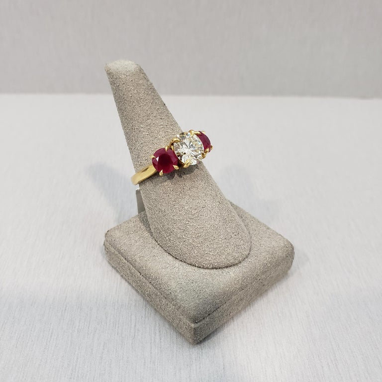 Three-Stone Ruby and Diamond Engagement Ring In New Condition For Sale In New York, NY