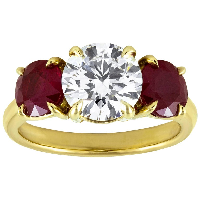 Three-Stone Ruby and Diamond Engagement Ring For Sale