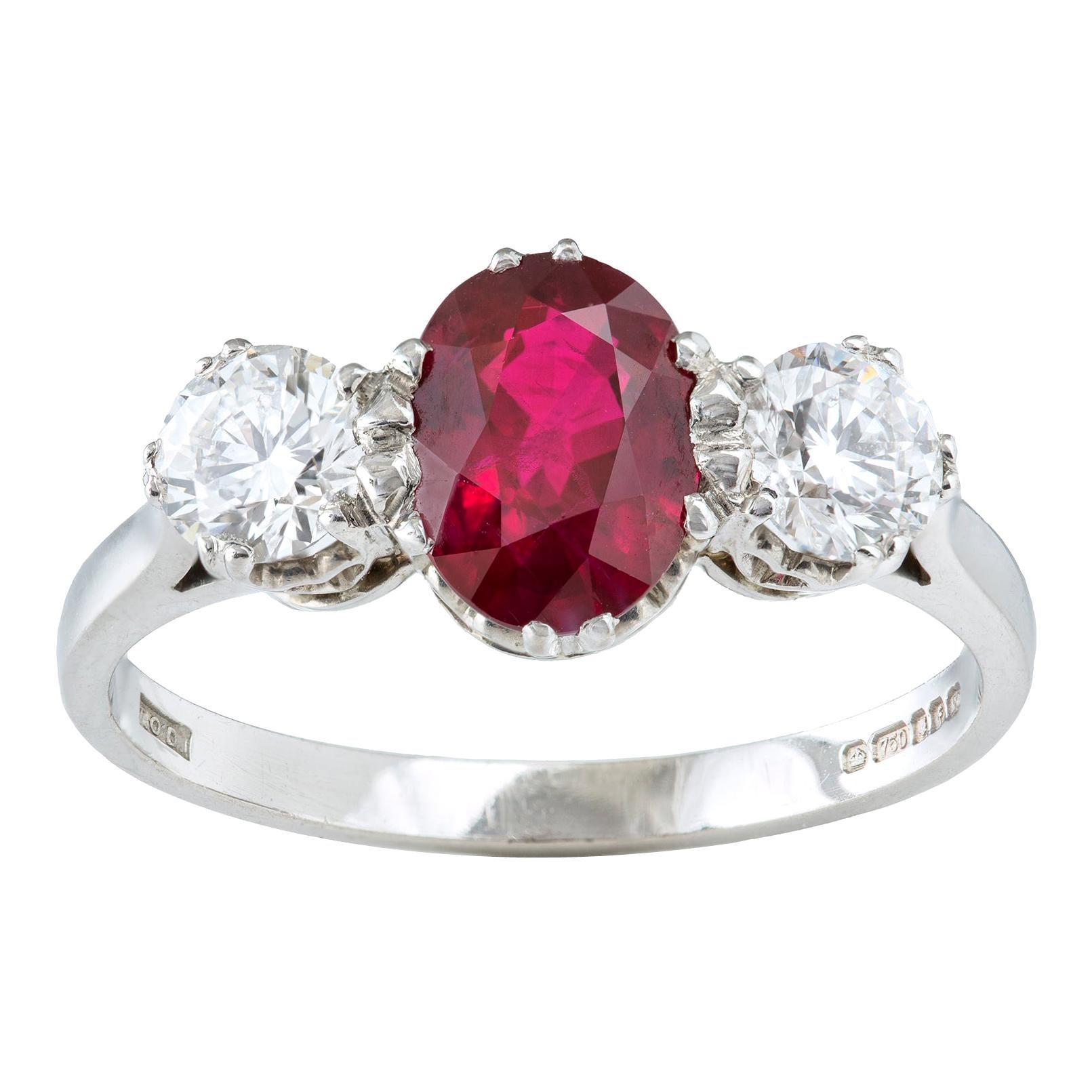 Three-Stone Ruby and Diamond Ring