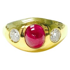 Three-Stone Ruby and Diamond Ring in 14k Yellow Gold in 14k Gold
