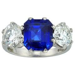 Three-Stone Sapphire and Diamond Ring