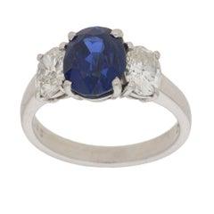 Three-Stone Sapphire Diamond Engagement Ring