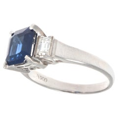 Three-Stone Sapphire Diamond Platinum Ring