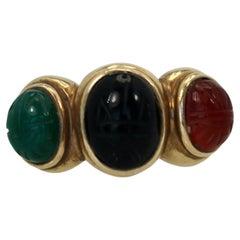 Three Stone Scarab Ring 14K