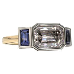 Three Stones Emerald Cut 1.88 Carat Sapphire Engagement Ring in Platinum & Gold