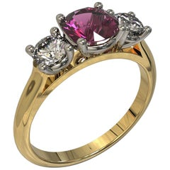 Three Stones Round Diamond Pink Sapphire Engagement Ring in 18 Carat Gold