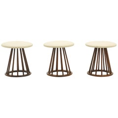 Three Stools by Arthur Umanoff, Walnut Spindle Base, Leather Seats, Excellent