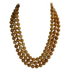 Three Strand  12mm Yellow Jade  925 Sterling Silver Gemstone Necklace