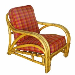 "Three-Strand ""1940s Transition"" Rattan Lounge Chair"