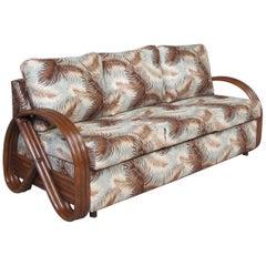 "Three-Strand 3/4 Pretzel ""Kauai"" 3-Seat Rattan Sofa Sleeper Bed"