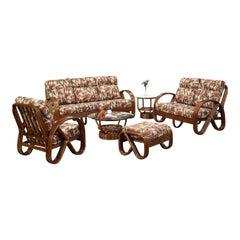 "Three-Strand 3/4 Pretzel ""Kauai"" 6-Piece Set Rattan Living Room Set"