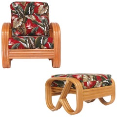 "Three-Strand 3/4 Pretzel ""Kauai"" Rattan Lounge Chair with Matching Ottoman"
