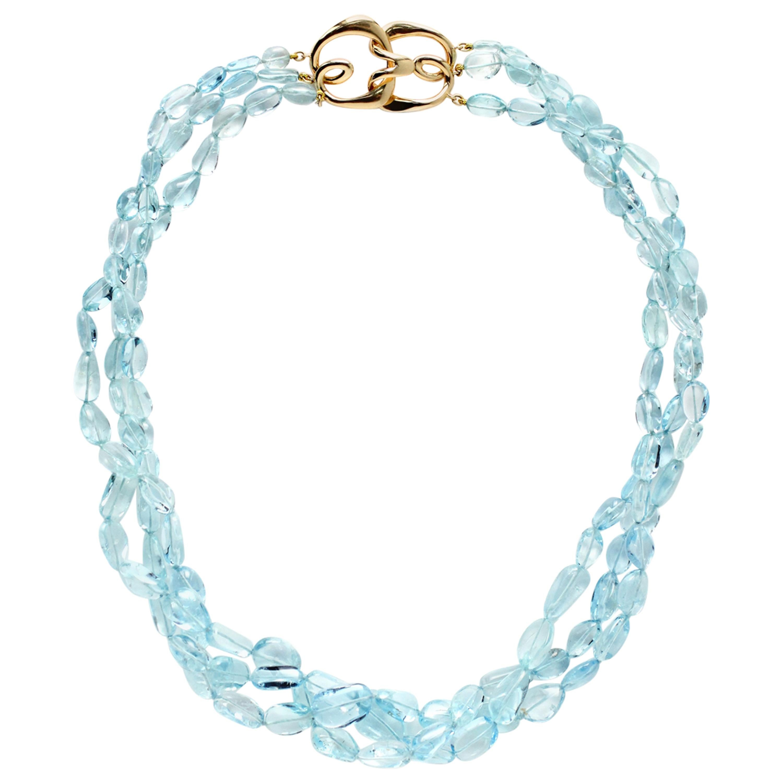 Three Strand Aquamarine Bead Necklace with 18 Karat Gold Hook Clasp