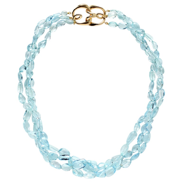 Three Strand Aquamarine Bead Necklace with 18 Karat Gold Hook Clasp For Sale