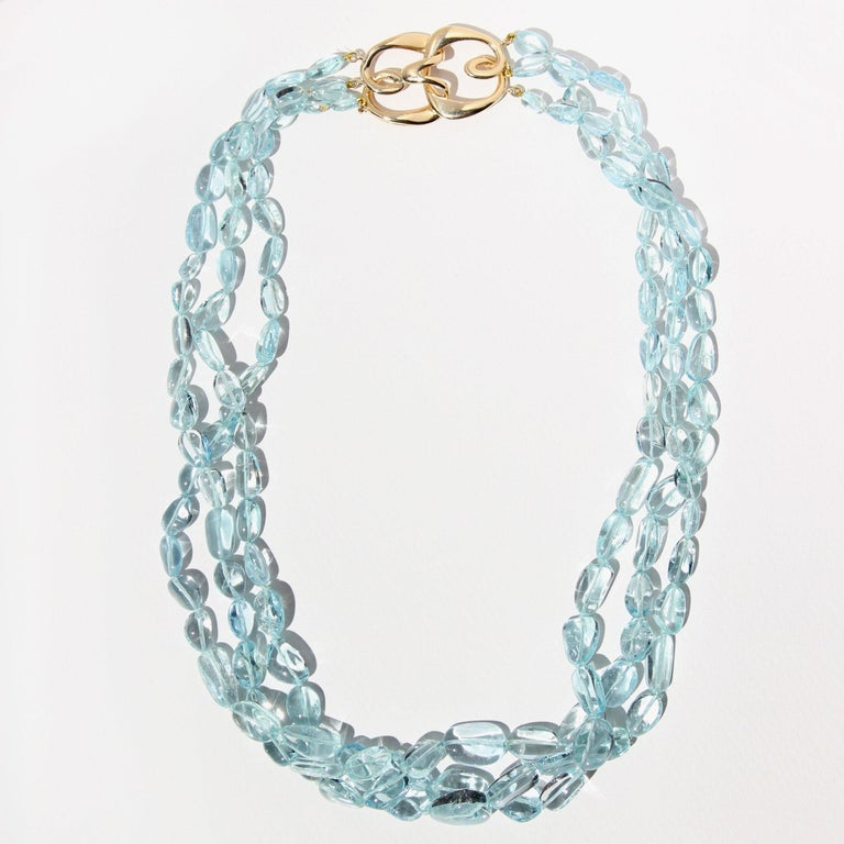 Contemporary Three Strand Aquamarine Bead Necklace with 18 Karat Gold Hook Clasp For Sale