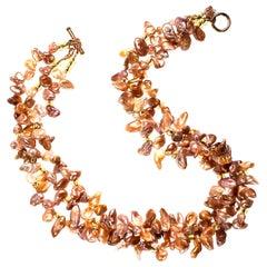 Three-Strand, Freeform Goldy-Gray Pearl Necklace