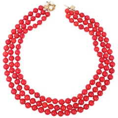 Three-Strand Genuine Red Coral Necklace, 14 Karat Clasp with Pearls, Sapphires