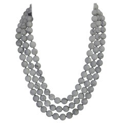 Three Strand Mat Howlite (white-grey) Beads 925 Sterling Silver Clasp Necklace