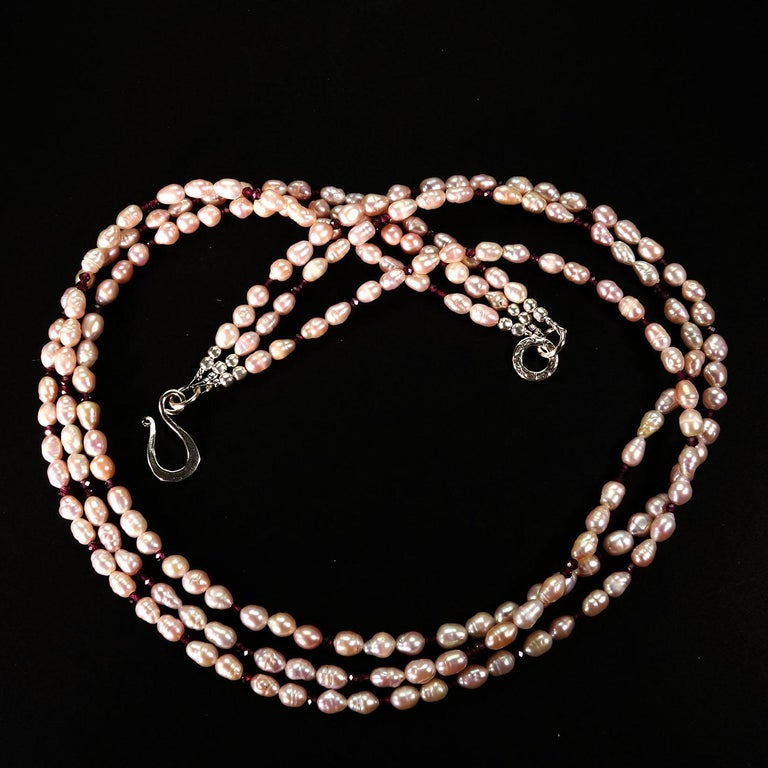 Three strand mauve Pearl and Rhodolite Garnet necklace with Sterling Clasp In New Condition For Sale In Tuxedo Park, NY