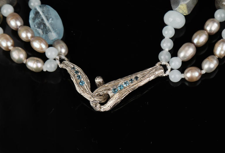 Contemporary Three-Strand Stacked Necklace Aqua Blue Topaz Labradorite Pearl White Gold For Sale