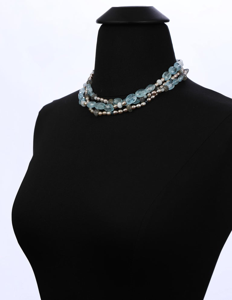 Women's Three-Strand Stacked Necklace Aqua Blue Topaz Labradorite Pearl White Gold For Sale