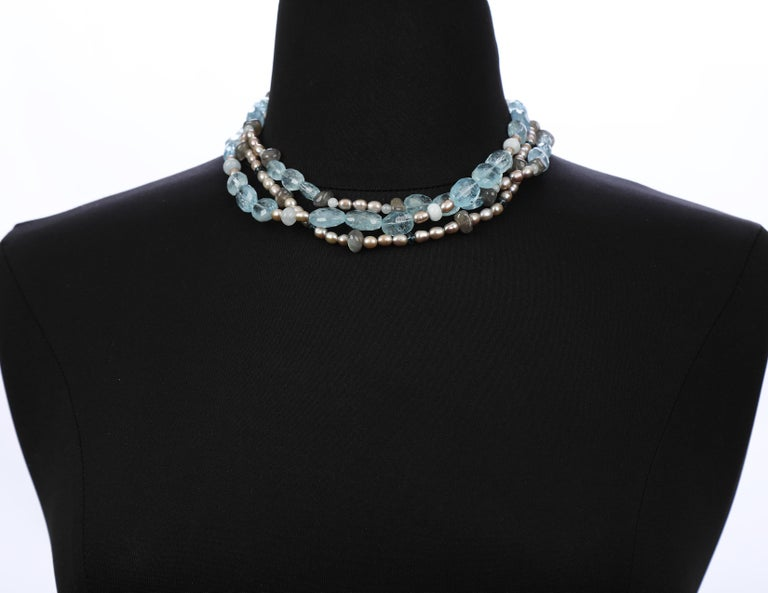 Three-Strand Stacked Necklace Aqua Blue Topaz Labradorite Pearl White Gold For Sale 1