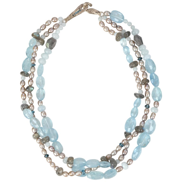 Three-Strand Stacked Necklace Aqua Blue Topaz Labradorite Pearl White Gold For Sale