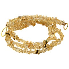 Three-Strand Necklace of Citrine with Crystal Rondelles