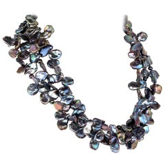 Gemjunky Three-Strand Peacock Color Pearls Choker Necklace